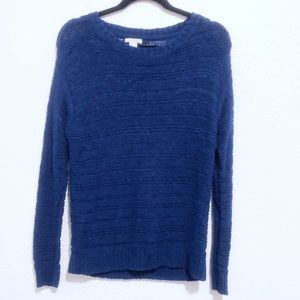 F21 | blue knitted crew neck sweater